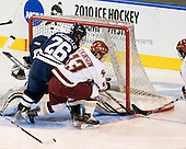 Ryan Rondeau (Yale - 1), Mark Arcobello (Yale - 26), Cam Atkinson (BC - 13) and Joe Whitney (BC - 15) watch Whitney's shot go in. - The Boston College Eagles defeated the Yale University Bulldogs 9-7 in the Northeast Regional final on Sunday, March 28, 2010, at the DCU Center in Worcester, Massachusetts.