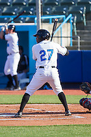 Bralin Jackson (27) of the Hudson Valley Renegades at bat against the Brooklyn Cyclones at Dutchess Stadium on June 18, 2014 in Wappingers Falls, New York.  The Cyclones defeated the Renegades 4-3 in 10 innings.  (Brian Westerholt/Four Seam Images)