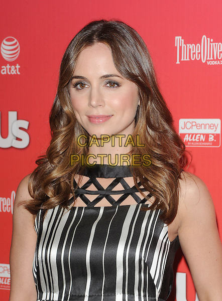 "ELIZA DUSHKU.at The 2009 US Weekly Annual ""Hot Hollywood"" Party held at My House in Hollywood, California, USA,.April 22nd 2009.                                                                     .portrait headshot black and white striped dress shift sleeveless .CAP/DVS.©Debbie VanStory/RockinExposures/Capital Pictures"