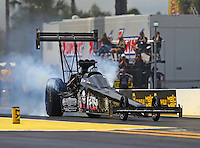 Mar 18, 2016; Gainesville, FL, USA; NHRA top fuel driver Tripp Tatum during qualifying for the Gatornationals at Auto Plus Raceway at Gainesville. Mandatory Credit: Mark J. Rebilas-USA TODAY Sports