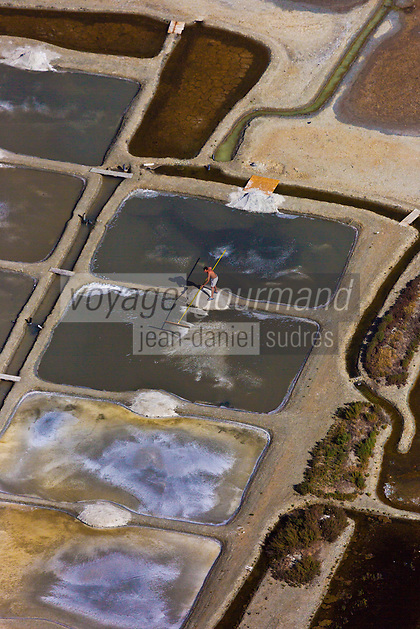 Europe/France/Pays de la Loire/44/Loire Atlantique/Guérande: Les marais salants de Guérande  - Vue aérienne   //  France, Loire Atlantique, Guerande, paludier in salt marshes (aerial view)