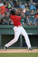 Designated hitter Marino Campana (23) of the Greenville Drive in a game against the Charleston RiverDogs on Friday, April 27, 2018, at Fluor Field at the West End in Greenville, South Carolina. Greenville won, 5-4. (Tom Priddy/Four Seam Images)