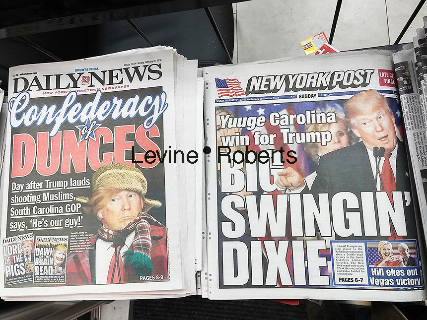 Headlines of the New York Post and New York Daily News on Sunday, February 21, 2016 report on the previous day's win by Donald Trump in the South Carolina Republican primary.  (© Richard B. Levine)