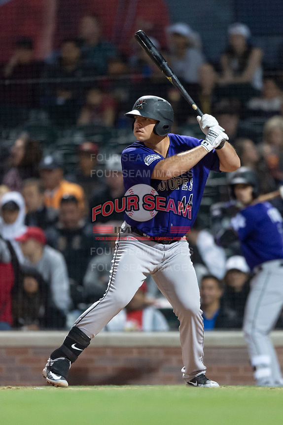 Albuquerque Isotopes first baseman Roberto Ramos (44) during a Pacific Coast League game against the El Paso Chihuahuas at Southwest University Park on May 10, 2019 in El Paso, Texas. Albuquerque defeated El Paso 2-1. (Zachary Lucy/Four Seam Images)