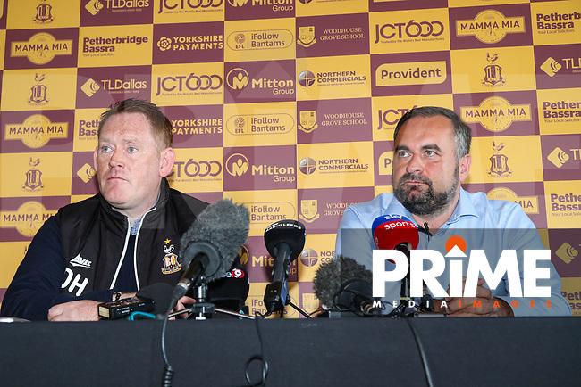 Bradford City head coach David Hopkin and Joint chairman Edin Rahic during Bradford City Press Conference as Bradford City appointment David Hopkin as head coach at the Northern Commercial Stadium, Bradford, England on 6 September 2018. Photo by Thomas Gadd.