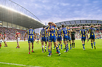 Picture by Allan McKenzie/SWpix.com - 13/07/2017 - Rugby League - Betfred Super League - Wigan Warriors v Warrington Wolves - DW Stadium, Wigan, England - Warrington celebrate Ben Currie's try against Wigan.