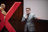 """Thomas Egan '18 talks about """"How do I Connect with my Friend? The reality of how mental illness can affect how we see people.""""<br /> Occidental College hosts TEDxOccidentalCollege on April 21, 2018 in Choi Auditorium of Johnson Hall. Students, faculty, alums and guest speakers delivered their TEDx Talk on the theme, Shifting Ecosystems of Power.<br /> (Photo by Marc Campos, Occidental College Photographer)"""
