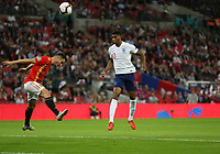 England's Marcus Rashford goes close with a first half header<br /> <br /> Photographer Rob Newell/CameraSport<br /> <br /> UEFA Nations League - League A - Group 4 - England v Spain - Saturday September 8th 2018 - Wembley Stadium - London<br /> <br /> World Copyright &copy; 2018 CameraSport. All rights reserved. 43 Linden Ave. Countesthorpe. Leicester. England. LE8 5PG - Tel: +44 (0) 116 277 4147 - admin@camerasport.com - www.camerasport.com