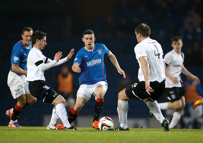 Fraser Aird tries to squeeze through the Ayr Utd defence