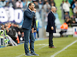 Getafe's coach Juan Eduardo Esnaider (l) and Real Madrid's coach Zinedine Zidane during La Liga match. April 16,2016. (ALTERPHOTOS/Acero)