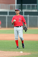 Jesus Campos #85 of the Los Angeles Angels plays in a minor league spring training game against the Chicago Cubs at the Angels minor league complex on April 3, 2011  in Tempe, Arizona. .Photo by:  Bill Mitchell/Four Seam Images.