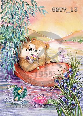 CUTE ANIMALS, paintings, 2 animals, boat(GBTV13,#AC#) illustrations, pinturas ,everyday