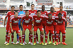09 July 2014: Dallas' starters. Front row (left to right): Zach Loyd, Blas Perez (PAN), Victor Ulloa, Andres Escobar (COL), Fabian Castillo (COL). Back row (left to right): Moises Hernandez, Raul Fernandez (PER), Matt Hedges, Je-Vaughn Watson (JAM), Hendry Thomas (HON), Tesho Akindele. The Carolina RailHawks of the North American Soccer League played FC Dallas of Major League Soccer at WakeMed Stadium in Cary, North Carolina in the quarterfinals of the 2014 Lamar Hunt U.S. Open Cup soccer tournament. FC Dallas won the game 5-2.