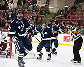 Luke Stevens (Yale - 27), Joe Snively (Yale - 7), Will D'Orsi (Yale - 8) - The Harvard University Crimson defeated the Yale University Bulldogs 6-4 in the opening game of their ECAC quarterfinal series on Friday, March 10, 2017, at Bright-Landry Hockey Center in Boston, Massachusetts.