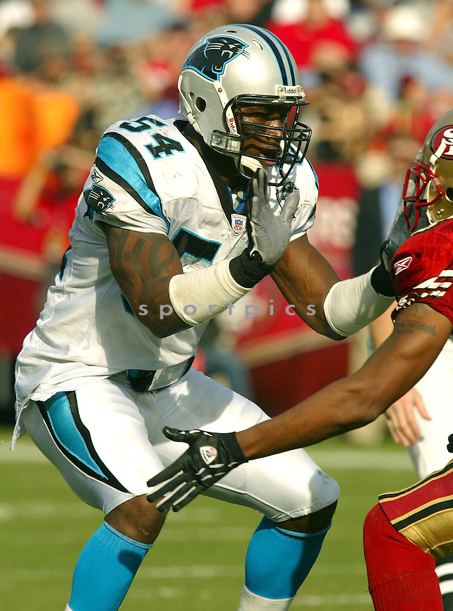 Will Witherspoon during the Carloina Panthers v. San Francisco 49ers game on November 14, 2004...Panthers win 37-27..Rob Holt / SportPics