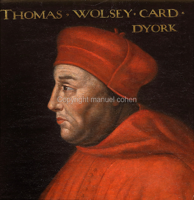 Portrait of Thomas Wolsey, Cardinal of York, 1473-1530, in the Galerie des Illustres or Gallery of Portraits, early 17th century, in the Chateau de Beauregard, a Renaissance chateau in the Loire Valley, built c. 1545 under Jean du Thiers and further developed after 1617 by Paul Ardier, Comptroller of Wars and Treasurer, in Cellettes, Loir-et-Cher, Centre, France. The Gallery of Portraits is a 26m long room with lapis lazuli ceiling, Delftware tiled floor and decorated with 327 portraits of important European figures living 1328-1643, in the times of Henri III, Henri IV and Louis XIII. The chateau is listed as a historic monument. Picture by Manuel Cohen