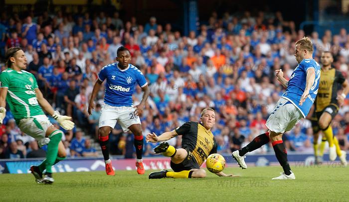 25.07.2019 Rangers v Progres Niederkorn: Scott Arfield has his shot saved by keeper Sebastian Flauss