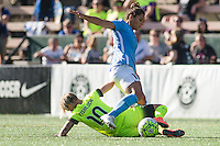 Seattle, WA - Sunday, April 17, 2016:  Sky Blue FC midfielder Raquel Rodriguez (11) works to keep possession against Seattle Reign FC midfielder Jessica Fishlock (10) during the second half of the match. Sky Blue FC defeated the Seattle Reign FC 2-1 during a National Women's Soccer League (NWSL) match at Memorial Stadium.