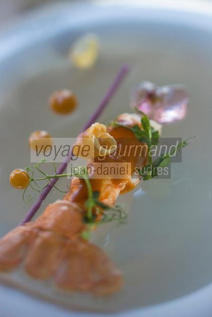 Europe/France/Midi-Pyrénées/31/Haute-Garonne/ Env de Toulouse/ Aureville: Langoustine fumée à la moutarde violette recette de Franck Renimel, Restaurant: En Marge