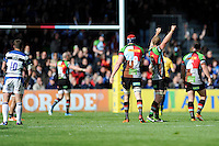 Harlequins players celebrate as George Ford of Bath Rugby is dejected after missing a drop goal attempt which would have drawn the match during the Aviva Premiership match between Harlequins and Bath Rugby at The Twickenham Stoop on Saturday 10th May 2014 (Photo by Rob Munro)