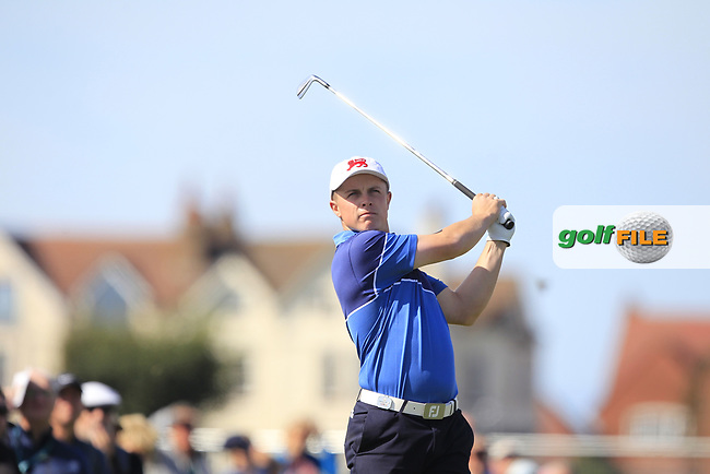 Conor Purcell (GB&I) on the 2nd tee during Day 1 Singles of the Walker Cup at Royal Liverpool Golf CLub, Hoylake, Cheshire, England. 07/09/2019.<br /> Picture: Thos Caffrey / Golffile.ie<br /> <br /> All photo usage must carry mandatory copyright credit (© Golffile | Thos Caffrey)