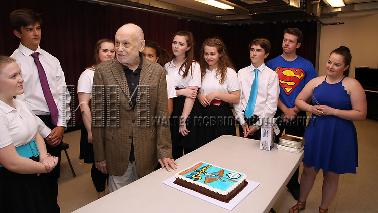 Charles Strouse with Performers and company celebrating his 90th Birthday during the Children's Theatre of Cincinnati presentation for composer Charles Strouse of 'Superman The Musical' at Ripley Grier Studios on June 8, 2018 in New York City.