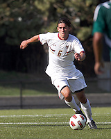 Boston College midfielder Steve Rose (6) brings the ball forward. Boston College defeated George Mason University, 3-2, at Newton Soccer Field, August 26, 2011.