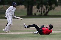 Hornchurch claim the ffifth Buckhurst Hill wicket during Hornchurch CC vs Buckhurst Hill CC (batting), Essex Cricket League Cricket at Harrow Lodge Park on 25th July 2020
