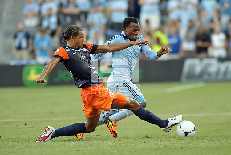 Daniel Congre (12) defender Montpellier tries to take the ball from.Korde Aiyegbusi (3) forward Sporting KC..Sporting Kansas City were defeated 3-0 by Montpellier HSC in an international friendly at LIVESTRONG Sporting Park, Kansas City, KS..