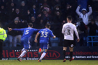 Max Ehmer celebrates scoring Gillingham's first goal to equalise in stoppage time in the second half during Gillingham vs Peterborough United, Sky Bet EFL League 1 Football at the MEMS Priestfield Stadium on 10th February 2018
