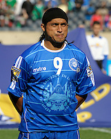 El Salvador's Rudis Corrales lines up for the national anthem.  El Salvador defeated Cuba 6-1 at the 2011 CONCACAF Gold Cup at Soldier Field in Chicago, IL on June 12, 2011.