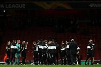 28th November 2019; Emirates Stadium, London, England; UEFA Europa League Football, Arsenal versus Frankfurt; Eintracht Frankfurt players celebrate the 1-2 win - Editorial Use