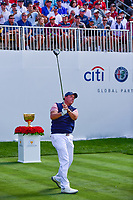 Phil Mickelson (USA) watches his tee shot on 1 during round 2 Four-Ball of the 2017 President's Cup, Liberty National Golf Club, Jersey City, New Jersey, USA. 9/29/2017.<br /> Picture: Golffile | Ken Murray<br /> <br /> All photo usage must carry mandatory copyright credit (&copy; Golffile | Ken Murray)