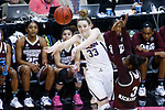 DALLAS, TX - MARCH 31: Katie Lou Samuelson #33 of the Connecticut Huskies attempts an overhead pass over Breanna Richardson #3 of the Mississippi State Lady Bulldogs during the 2017 Women's Final Four at American Airlines Center on March 31, 2017 in Dallas, Texas. (Photo by Tim Nwachukwu/NCAA Photos via Getty Images)