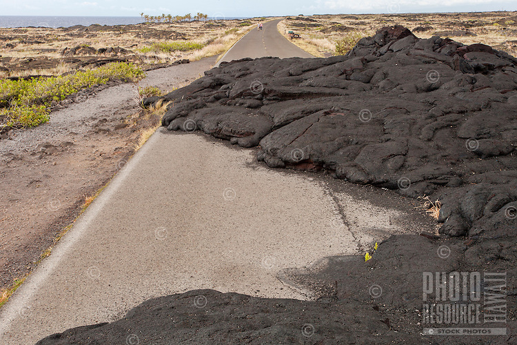 Lava rock covering Chain of Craters Road in Hawai'i Volcanoes National Park, Big Island.