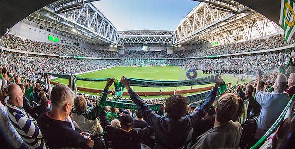 Stockholm 2014-08-24 Fotboll Superettan Hammarby IF - Ljungskile SK :  <br /> Vy &ouml;ver Tele2 Arena med publik p&aring; l&auml;ktarna inf&ouml;r matchen Hammarby mot Ljungskile<br /> (Foto: Kenta J&ouml;nsson) Nyckelord:  Superettan Tele2 Arena Hammarby HIF Bajen Ljungskile LSK supporter fans publik supporters inomhus interi&ouml;r interior