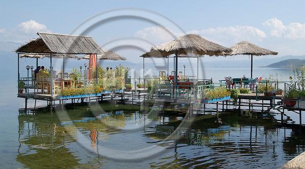 Pogradec-Korca/Korce-Albania - August 04, 2004---The restaurant of a hotel at Lake Ohrid near Pogradec; project area of GTZ-Wiram-Albania (German Technical Cooperation, Deutsche Gesellschaft fuer Technische Zusammenarbeit (GTZ) GmbH); infrastructure-economy-tourism---Photo: Horst Wagner/eup-images