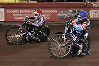 Heat 3: Peter Karlsson (red) and Stuart Robson - Lakeside Hammers vs Peterborough Panthers - Sky Sports Elite League Speedway at Arena Essex Raceway, Purfleet - 14/09/12 - MANDATORY CREDIT: Gavin Ellis/TGSPHOTO - Self billing applies where appropriate - 0845 094 6026 - contact@tgsphoto.co.uk - NO UNPAID USE.