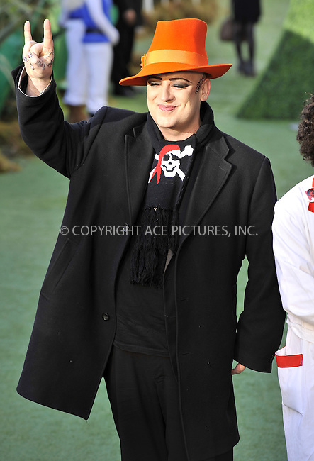 "WWW.ACEPIXS.COM . . . . .  ..... . . . . US SALES ONLY . . . . .....January 30 2011, London....Boy George at the UK film premiere of ""Gnomeo & Juliet"" at the Odeon Leicester Square on January 30 2011 in London....Please byline: FAMOUS-ACE PICTURES... . . . .  ....Ace Pictures, Inc:  ..Tel: (212) 243-8787..e-mail: info@acepixs.com..web: http://www.acepixs.com"