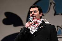 Marco Scibona.Roma 22/02/2013 Piazza San Giovanni. Tappa conclusiva dello Tsunami Tour e chiusura della campagna elettorale del Movimento 5 stelle..Elections 2013, Closing of the campaign of ' Movment 5 stars' .Photo Samantha Zucchi Insidefoto