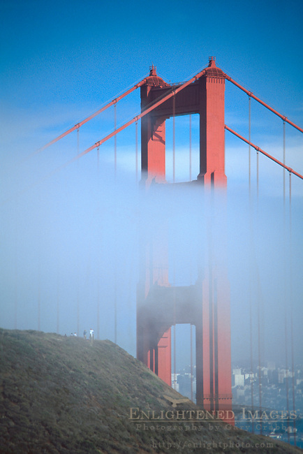 Golden Gate Bridge and fog, Marin Headlands, Golden Gate National Recreation Area, Marin County, California