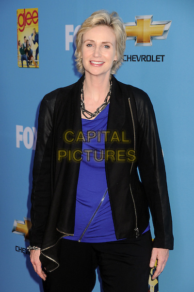"JANE LYNCH .""Glee"" Season Two Premiere and DVD Release Party held at Paramount Studios,  Los Angeles, California, USA, 7th September 2010 .half length purple blue top black jacket.CAP/ADM/BP.©Byron Purvis/AdMedia/Capital Pictures."