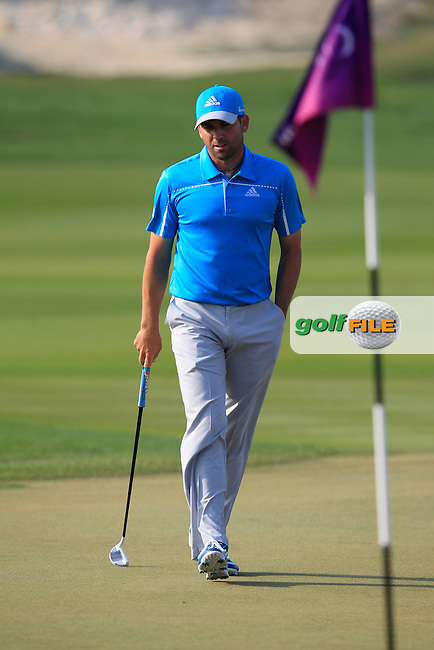 Sergio Garcia (ESP) on the 16th green during Saturday's Final Round of the Commercial Bank Qatar Masters 2014 held at Doha Golf Club, Doha, Qatar. 25th January 2014.<br /> Picture: Eoin Clarke www.golffile.ie