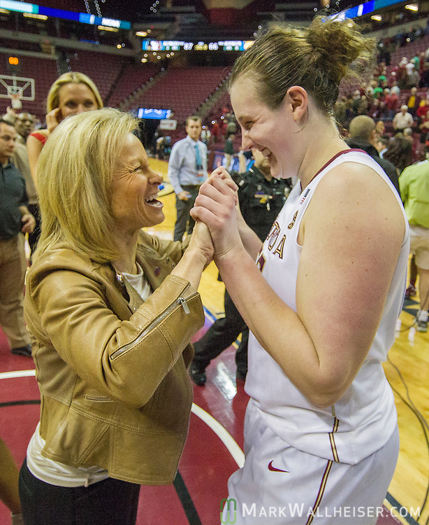 Florida State head coach Sue Semrau celebrates with Florida State center Chatrice White after defeating Western Illinois 87-66 in a first-round game of the NCAA women's college basketball tournament in Tallahassee, Fla., Friday, March 17, 2017. Florida State defeated Westeren Illinois 87-66. (AP Photo/Mark Wallheiser)