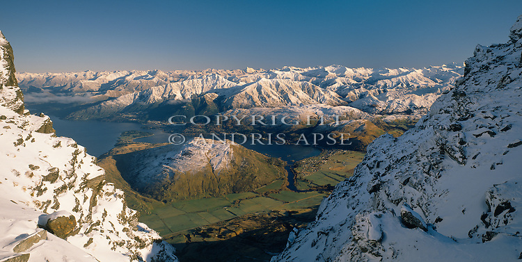 Queenstown and Lake Wakatipu from the Remarkables. Otago Region. New Zealand.