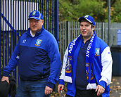 1st October 2017, Hillsborough, Sheffield, England; EFL Championship football, Sheffield Wednesday versus Leeds United; Two Sheffield Wednesday fans walking to Hillsborough
