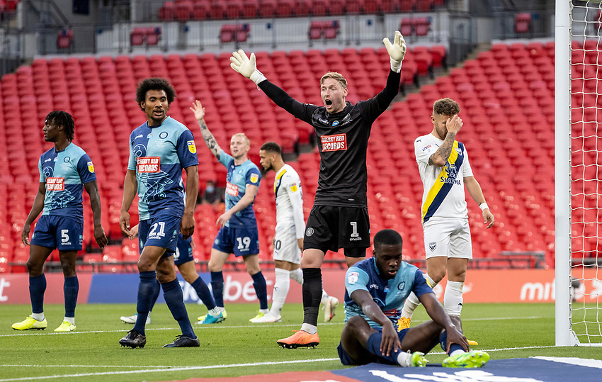 Wycombe Wanderers' goalkeeper Ryan Allsop gestures <br /> <br /> Photographer Andrew Kearns/CameraSport<br /> <br /> Sky Bet League One Play Off Final - Oxford United v Wycombe Wanderers - Monday July 13th 2020 - Wembley Stadium - London<br /> <br /> World Copyright © 2020 CameraSport. All rights reserved. 43 Linden Ave. Countesthorpe. Leicester. England. LE8 5PG - Tel: +44 (0) 116 277 4147 - admin@camerasport.com - www.camerasport.com
