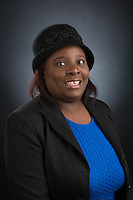 Esther Alcindor of the School of Education is photographed during employee headshot day on December 6th, 2016.  (Photo by Nathan Spencer)