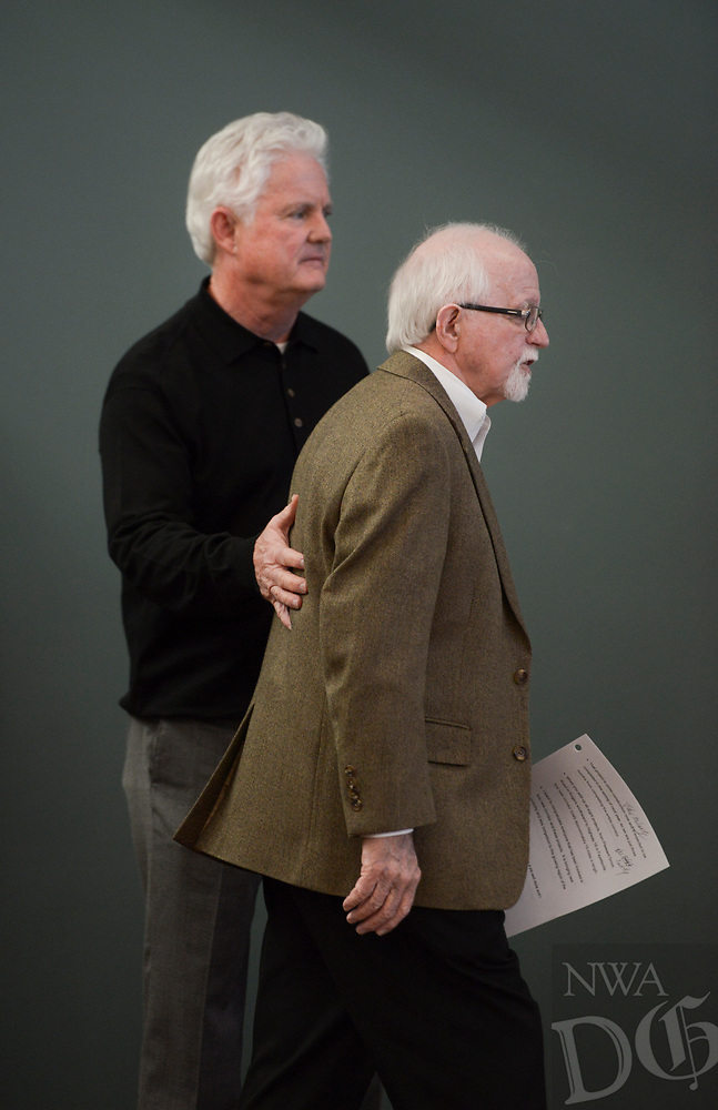 NWA Democrat-Gazette/CHARLIE KAIJO Keith Gibson welcomes outgoing Arkansas Highway Commission Chair Dick Trammel during a ribbon cutting, January 4, 2019 at the Jones Center in Springdale. <br />