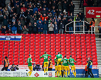 12th February 2020; Bet365 Stadium, Stoke, Staffordshire, England; English Championship Football, Stoke City versus Preston North End; Alan Browne of Preston North End and players celebrate his 58 minute goal to put Preston ahread 0-1